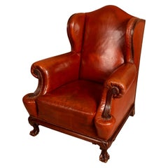 Late 19th Century Mahogany Brown Leather Wingback Armchair, English circa 1890