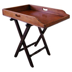 Late 19th Century Mahogany Butlers Tray with Folding Stand and Removable Tray