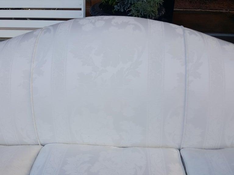 Upholstery Late 19th Century Mahogany Camel Back Sofa For Sale