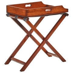 Late 19th Century Mahogany French Butler's Tray on Folding Stretcher