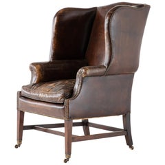 Late 19th Century Mahogany Leather Wing Chair