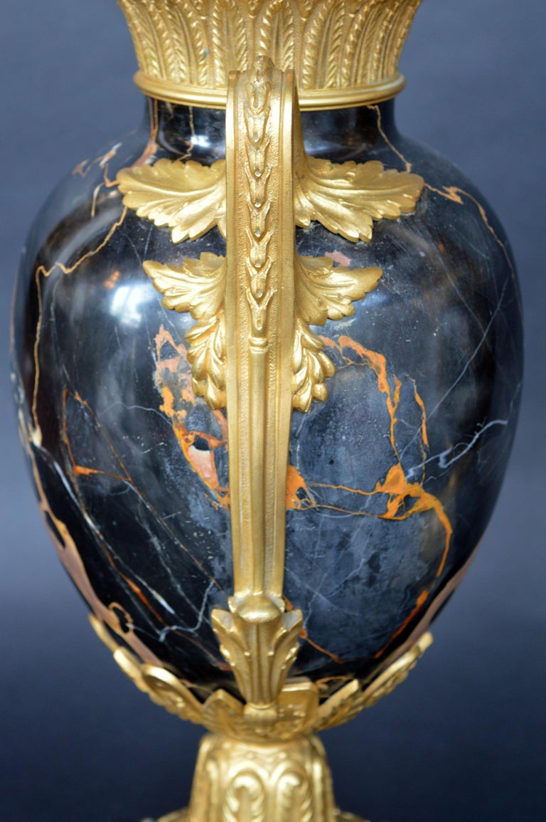 Italian Late 19th Century Marble and Bronze Vases For Sale