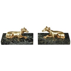 Late 19th Century Marble Paperweights with Ormolu Greyhounds