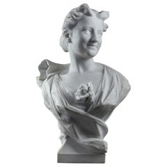 Late 19th Century Marble Sculpture Bust of a Lady Signed Oliver