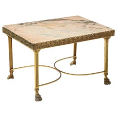 Late 19th Century Marble-Top Brass Coffee Table