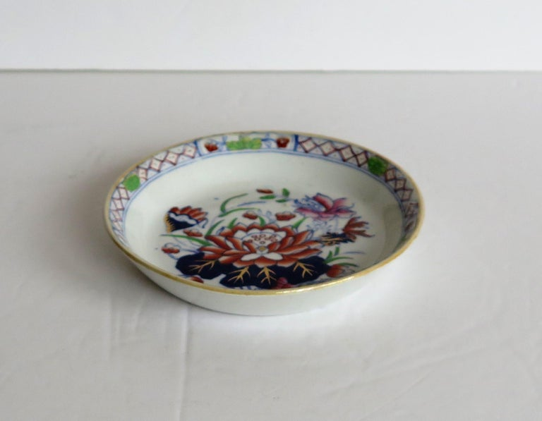 Chinoiserie Late 19th Century Mason's Ironstone Small Dish or Pin Tray Water Lily Pattern For Sale