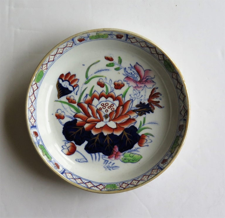 Hand-Painted Late 19th Century Mason's Ironstone Small Dish or Pin Tray Water Lily Pattern For Sale