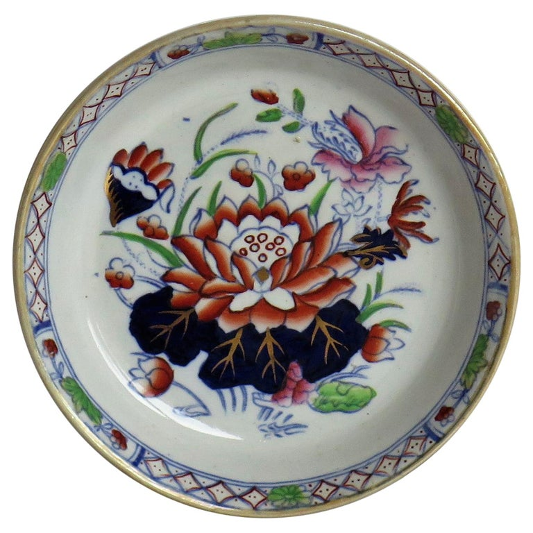 Late 19th Century Mason's Ironstone Small Dish or Pin Tray Water Lily Pattern For Sale