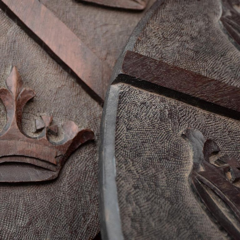 Late 19th Century Match Pair of Mahogany English Armorial Carved Shields For Sale 8