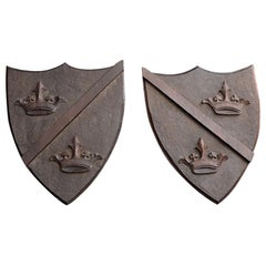 Late 19th Century Match Pair of Mahogany English Armorial Carved Shields