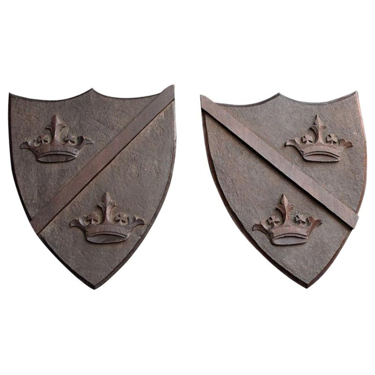 Late 19th Century Match Pair of Mahogany English Armorial Carved Shields For Sale