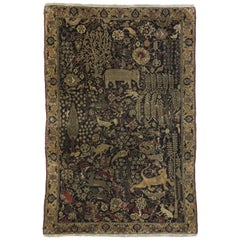 Late 19th Century Medieval Distressed Antique Indian Agra Rug with Hunting Scene