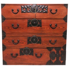 Late 19th Century Meiji Period Kasane Tansu Chest on Chest