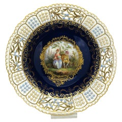 Late 19th Century Meissen Cobalt Blue Reticulated Plate with European Painting