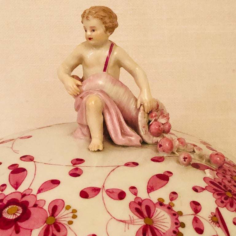 Other Late 19th Century Meissen Purple Indian Round Tureen with Figure with Cornacopia For Sale