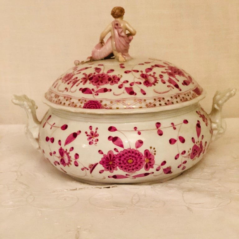 German Late 19th Century Meissen Purple Indian Round Tureen with Figure with Cornacopia For Sale