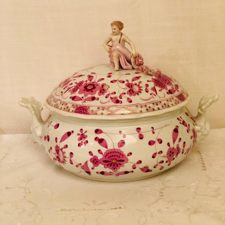 Hand-Painted Late 19th Century Meissen Purple Indian Round Tureen with Figure with Cornacopia For Sale