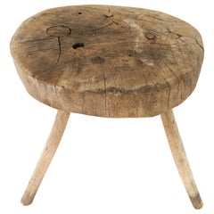 Late 19th Century Mezquite Milking Wood Stool with Thick Round Top