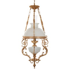 Late 19th Century Milk Glass Hanging Oil Lamp