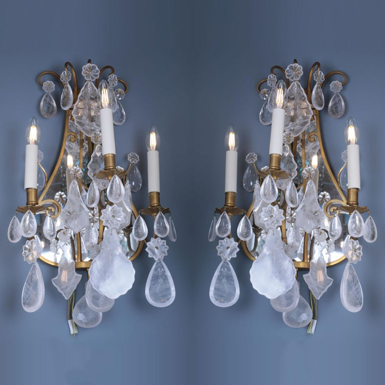 French Late 19th Century Mirror Rock Crystal Backed Wall Lights For Sale