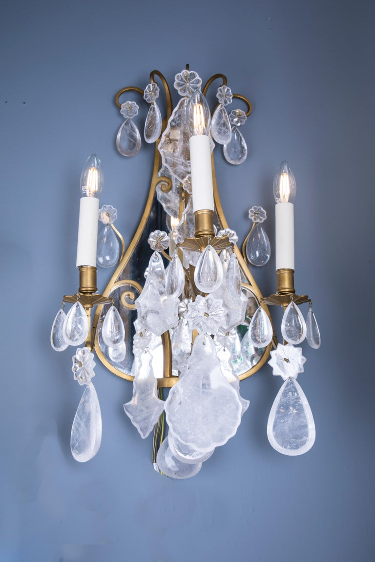 Late 19th Century Mirror Rock Crystal Backed Wall Lights In Good Condition For Sale In London, GB