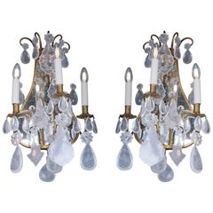 Late 19th Century Mirror Rock Crystal Backed Wall Lights