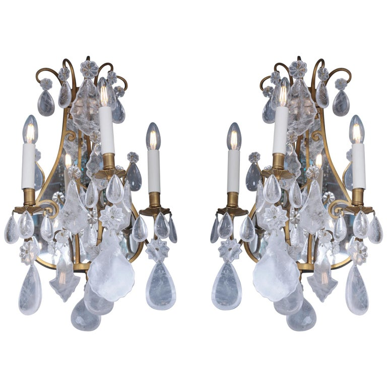 Late 19th Century Mirror Rock Crystal Backed Wall Lights For Sale