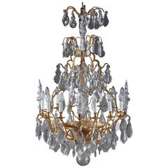 Late 19th Century Monumental 12-Light Gilt Bronze and Crystal Chandelier
