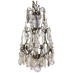 Late 19th Century Multi Crystal and Spire, Bronze Birdcage Chandelier
