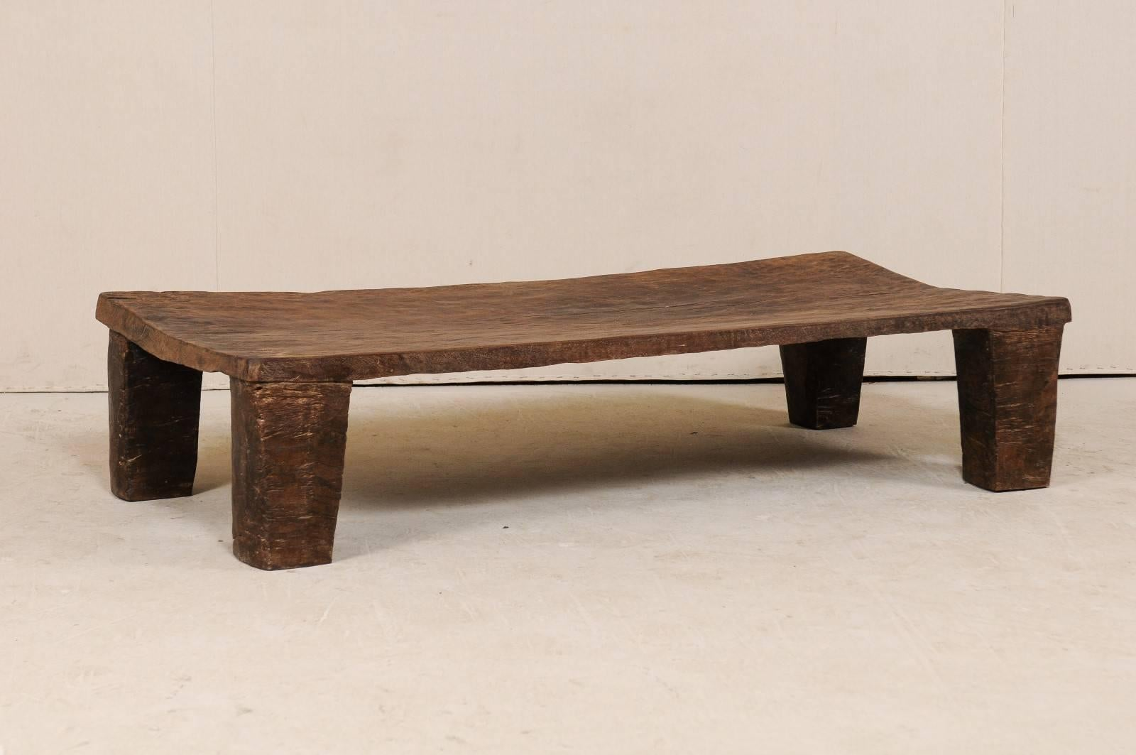 Indian Late 19th Century Nagaland, India Bed Made Rustic Wood Coffee Table  For Sale