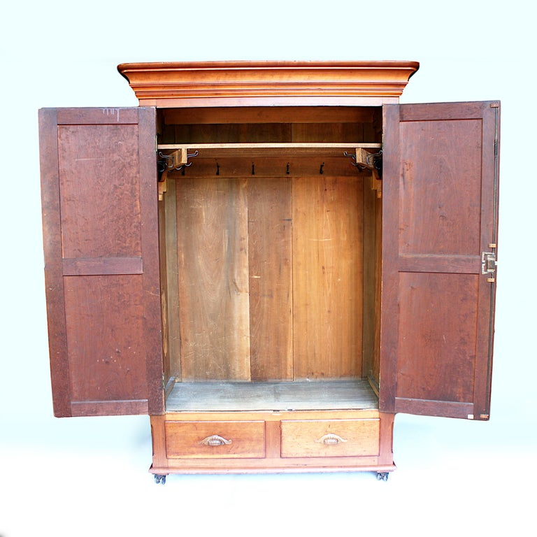 Carved Late 19th Century Neoclassical Primitive Wardrobe Armoire in Solid Cherry
