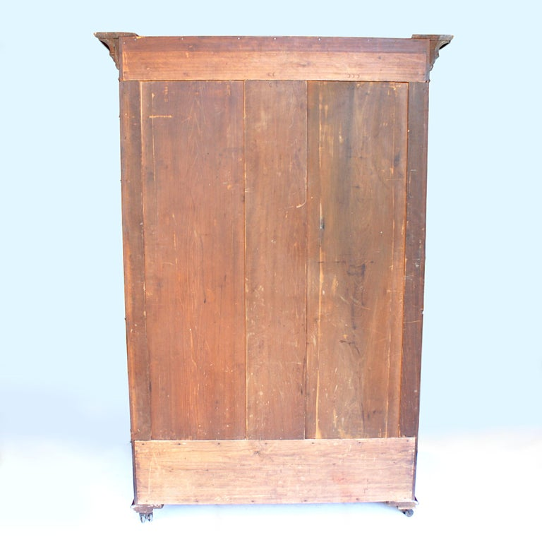 Late 19th Century Neoclassical Primitive Wardrobe Armoire in Solid Cherry In Good Condition In Lafayette, IN