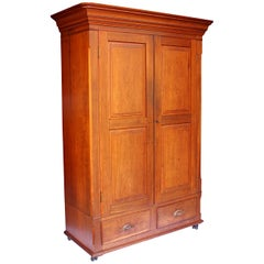 Late 19th Century Neoclassical Primitive Wardrobe Armoire in Solid Cherry