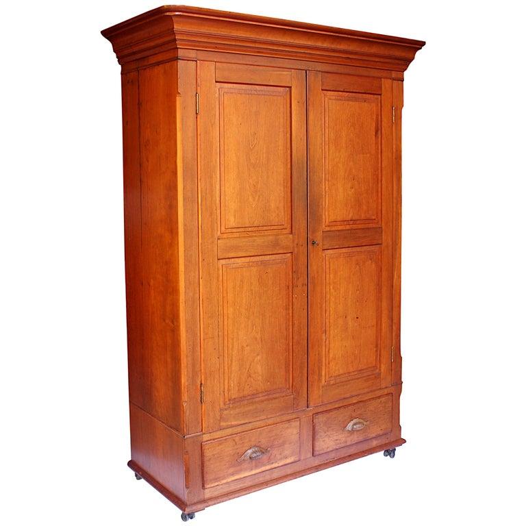 Late 19th Century Neoclassical Primitive Wardrobe Armoire in Solid Cherry