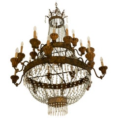 Late 19th Century Neoclassical Italian Bronze Crystal Wood Chandelier
