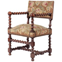 Late 19th Century Oak Armchair Louis XIII Early Baroque Style