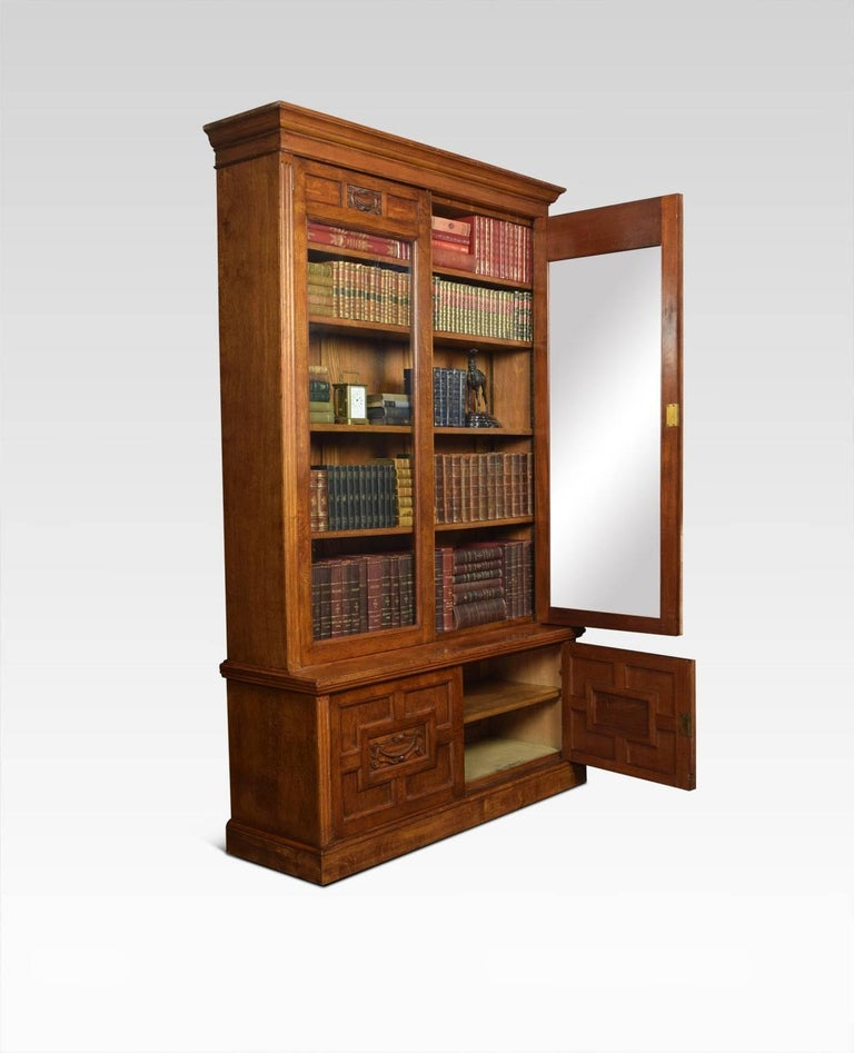 Great Britain (UK) Late 19th Century Oak Two-Door Bookcase For Sale