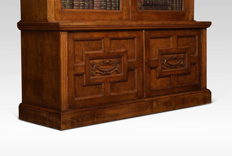 Late 19th Century Oak Two-Door Bookcase For Sale 1