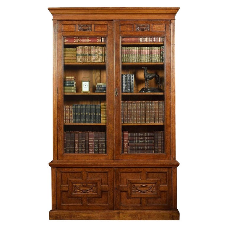 Late 19th Century Oak Two-Door Bookcase For Sale
