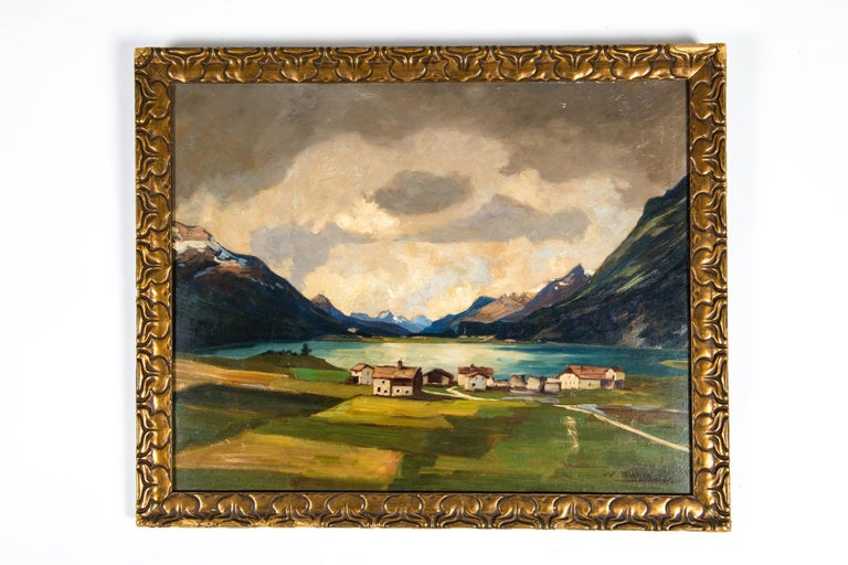 Late 19th century oil on board paint with giltwood frame. Artist Signature on the lower left, the painting is in excellent condition. Minor wear to the frame consistent with age / use. The painting is about 19 inches x 15 inches. The frame is 22