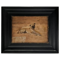 "Late 19th Century Oil on Board ""Study of a Pug"", by Tony Robert-Fleury"