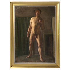 Late 19th Century Oil on Canvas, Male Nude, Danish School