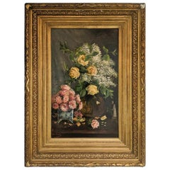 Late 19th Century Oil on Canvas, Still Life of Yellow Roses, English