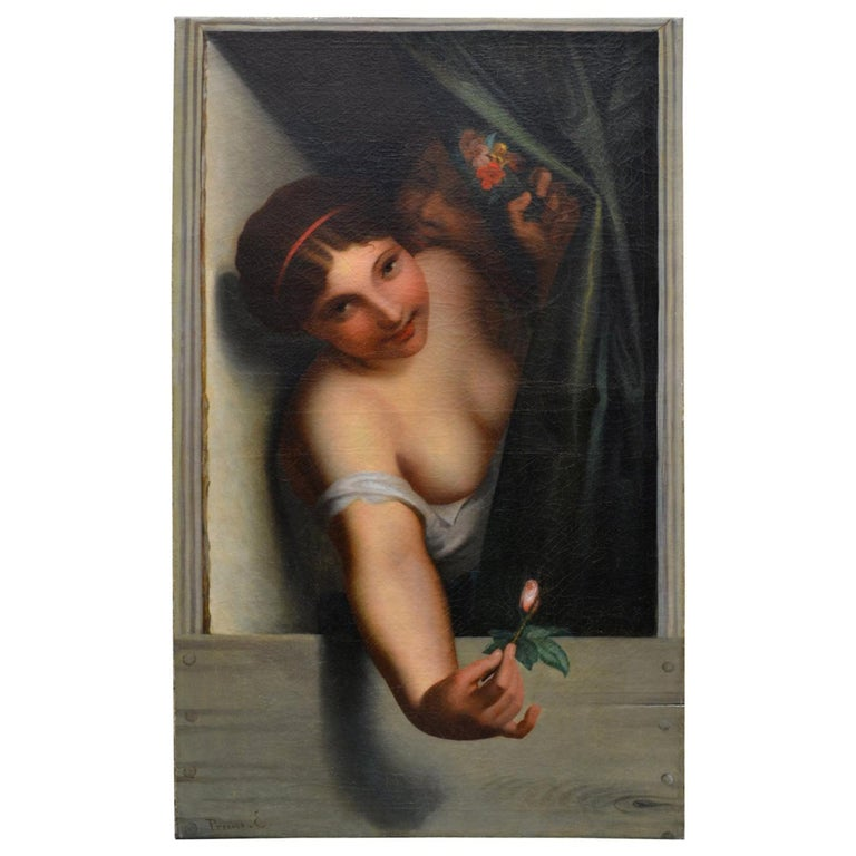 Late 19th Century Oil Painting Called 'Le Bouton Rose' by Emil Preuss For Sale