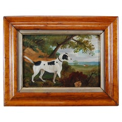 Late 19th Century Oil Painting Naive English Jack Russel and Rabbit