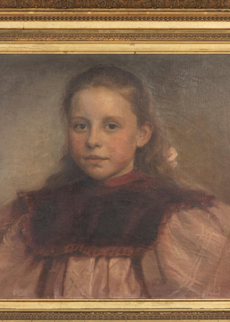 Late 19th Century Oil Painting Portrait Young Girl by Jeremie Delsaux For Sale 5