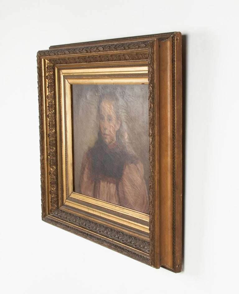 Late 19th Century Oil Painting Portrait Young Girl by Jeremie Delsaux For Sale 6