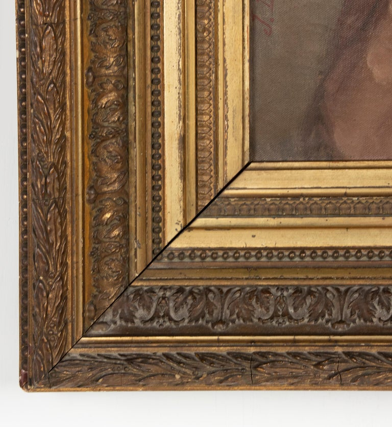 Late 19th Century Oil Painting Portrait Young Girl by Jeremie Delsaux For Sale 13