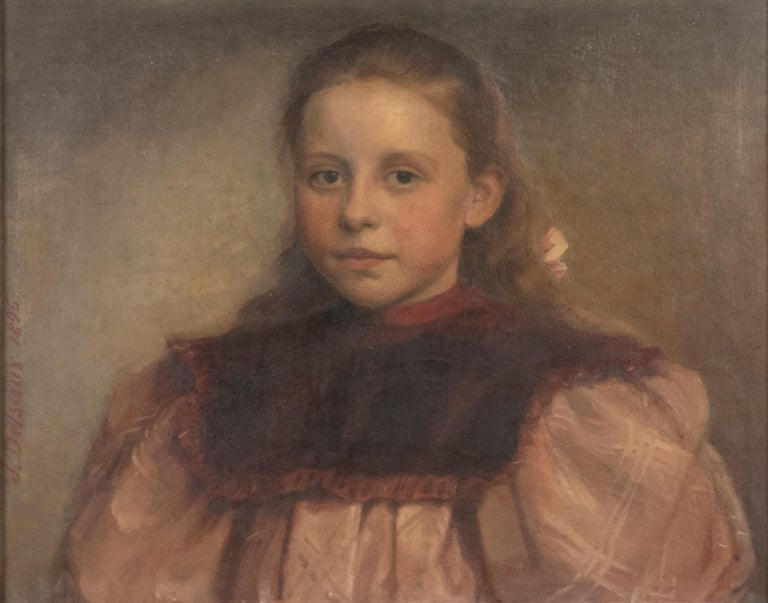 Belgian Late 19th Century Oil Painting Portrait Young Girl by Jeremie Delsaux For Sale