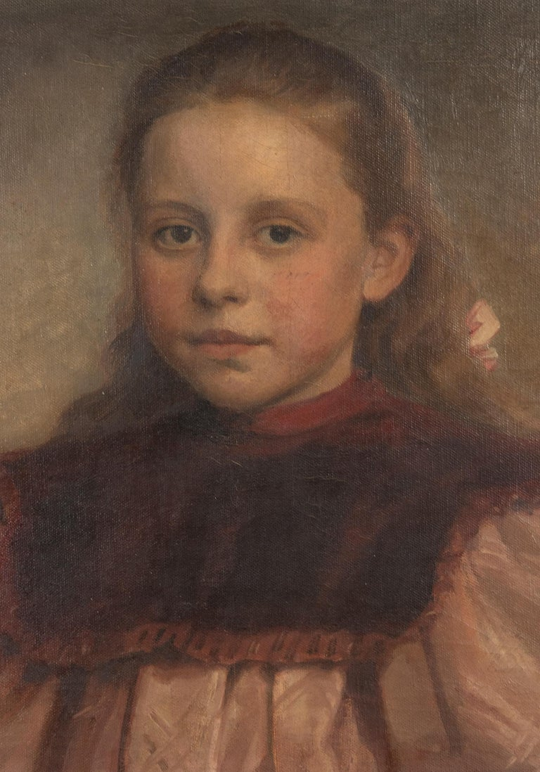 Hand-Painted Late 19th Century Oil Painting Portrait Young Girl by Jeremie Delsaux For Sale